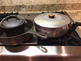 Wagnerware skillet and Magnalite pot to the right