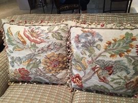 Down filled tapestry pillows