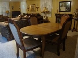 Dining Table with Leaf and Pads, 6 Chairs