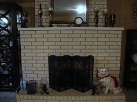 Fireplace Screen, Large Cat and Other Décor Pieces