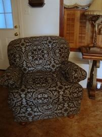 Turquoise and Brown Overstuffed Chair