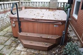 Hot Springs Grandee Hot Tub It is up and operational as we speak It is around 4 years old  It is a salt water hot tub It has been serviced by Ardverson in Crystal Lake