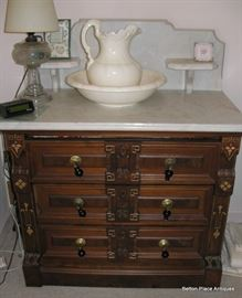 Victorian Renaissance Chest , marble top, inlaid sides like the Dresser. 35 1/2 inches wide, 40  1/2 inches tall, 19 inches deep.
