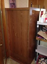 WARDROBE CABINET $10.00!  EVERYTHING ELSE   IN THE HOUSE $1.00 EACH, EXCEPT SOME FURNITURE PRICED $5.00 TO $10.00! PLASTIC TABLES AND SHELFS NOT FOR SALE!