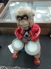 1950's Monkey Playing Bongo Drums Works Great