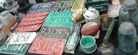 Vintage License plates,  pottery ,and more