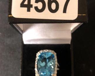 14K WHITE GOLD -  29.96 CT SWISS BLUE TOPAZ &  1.5 CTTW DIAMONDS   RING