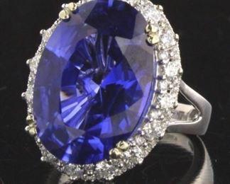 14K WG  15.06 CT  BLUE SAPPHIRE , .86CT DIAMOND RING