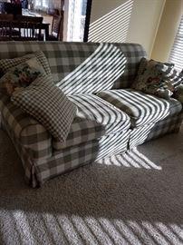 Great sage green check sofa