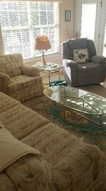 Sofa, Side Chair, Glass top coffee table, Glass top End Table, Electric Reciner, Brass Lamp,  Area Rug