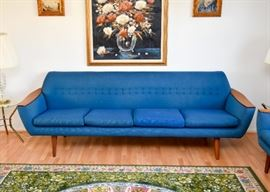 SOLD--Lot #301, Mid Century Modern Gondola 4-Seat Tufted Sofa, $950