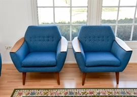 SOLD--Lot #302, Pair of Mid Century Modern Tufted Lounge Chairs, $400 EACH