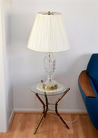 Bamboo Motif Brass & Glass Side Tables (Pair), Crystal Table Lamps (Pair)