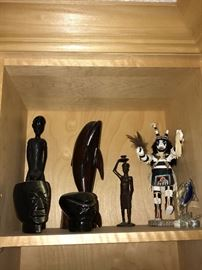 HAND-CARVED AFRICAN WOODEN STATUES