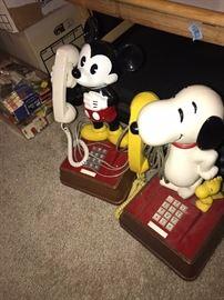 VINTAGE MICKEY AND SNOPPY PHONES