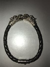 MENS STERLING SILVER DRAGON AND LEATHER BRACELET