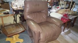 Leather Lounger, Accent Table (2 accent tables available)