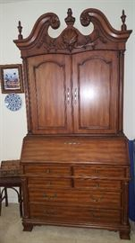 """Broyhill Tapestry Village Secretary.  Excellent Condition About 90"""" Tall. Opens for desk use with cubby hole storage plus drawers.  Beautiful piece!"""