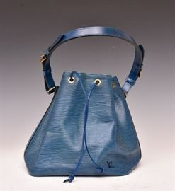 "Louis Vuitton Petit Noe Shoulder Bag Blue Epi Leather 10"" high   Bid on-line November 10th -15th at www.fairfieldauction.com"