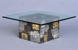"Paul Evans Brutalist ""Cube"" Coffee Table 36"" wide, 15 3/4"" high overall cube: 20"" x 20"", 15"" high circa 1970  Bid on-line November 10th -15th at www.fairfieldauction.com"