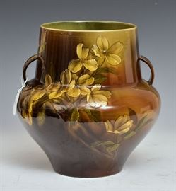 "Rookwood Vase standard glaze with flowers by Matthew Daley 10"" high, 10"" diameter late 19th century   Bid on-line November 10th -15th at www.fairfieldauction.com"