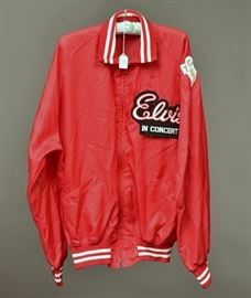 Elvis Tour Jacket with Holloway Tag and hand stitched tour patches, size extra large circa 1970   Bid on-line November 10th -15th at www.fairfieldauction.com