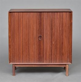 "Danish Modern TV Cabinet Peter Hvidt with tambour doors 35 1/2"" wide x 37"" high x 18 3/4"" deep unsigned, circa 1960's   Bid on-line November 10th -15th at www.fairfieldauction.com"