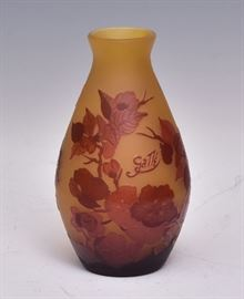 "Galle Art Glass Vase acid etched 6 1/4"" high early 20th century   Bid on-line November 10th -15th at www.fairfieldauction.com"