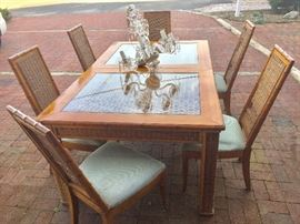 Wood, Bamboo & Rattan Dining Table & 6 Chairs with Antique Crystal Chandelier