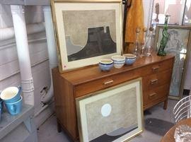 """Gold framed """"Taos"""" prints, dresser"""