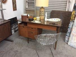 Walnut desk with glass top