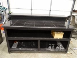 Black Wooden Hostess Stand With Tile Top
