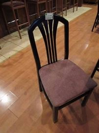 Set Of (4) Matching Black Wood Frame Chairs