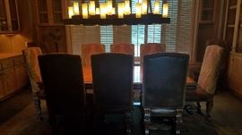 Beautiful Burl Top Dining Set w/4 Leaves & 12 Chairs