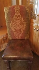 12-Leather Seat w/Upholstered Back Dining Chairs