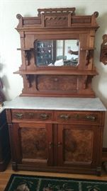 Stunning antique Eastlake Victorian marble top sideboard.