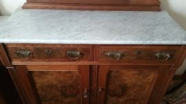 Bottom of sideboard showing the burl walnut...Gorgeous!