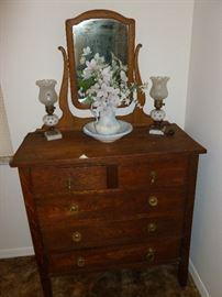 Early Dresser with mirror, Cut to Clear Glass Lamps