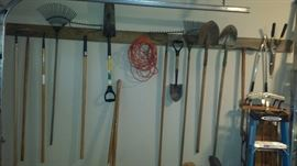 Tools and Yard Equipment, Rakes, Shovels, Hedge Clippers, Hoes, Garden Rake.