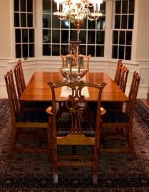 D.R. Dimes Lexington double pedestal tiger maple dining table with D.R. Dimes Chippendale style dining chairs. There are 10 chairs - 2 arm chairs and 8 side chairs.