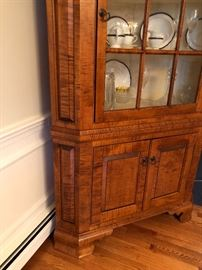 Tiger Maple Glass Door D.R. Dimes Corner Cupboard (2)