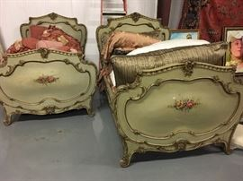 French painted twin beds