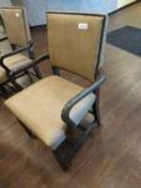 Nice waiting room chair- Wood frame w/ nail head t ...