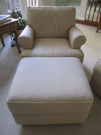PAIR OF CHAIRS  AND OTTOMAN BY POTTERY BARN