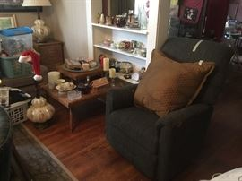 Living Room - chair, end table, lamps, collectibles