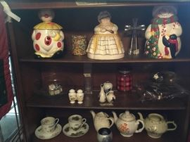 China cabinet with collectibles & cookie jars
