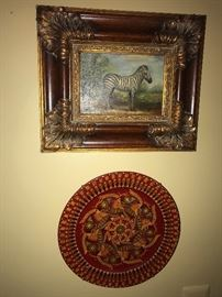 ZEBRA OIL ON CANVAS PAINTING / FOLK ART PAINTED PLATE
