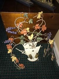 VINTAGE ITALIAN METAL GRAPES SHABBY CHIC LIGHT FIXTURES-2 AVAILABLE