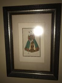 ANTIQUE VICTORIAN GOLF LADY FRAMED PICTURE