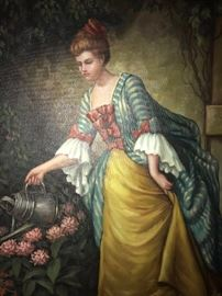VICTORIAN STYLE OIL ON CANVAS PAINTING BY BERNARD GUERNEE